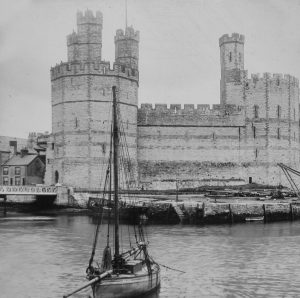 Caernarfon Castle with Boat Magic Lantern Slide c.1890