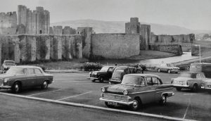 Caerphilly Castle Car Park Magic Lantern Slide 1963