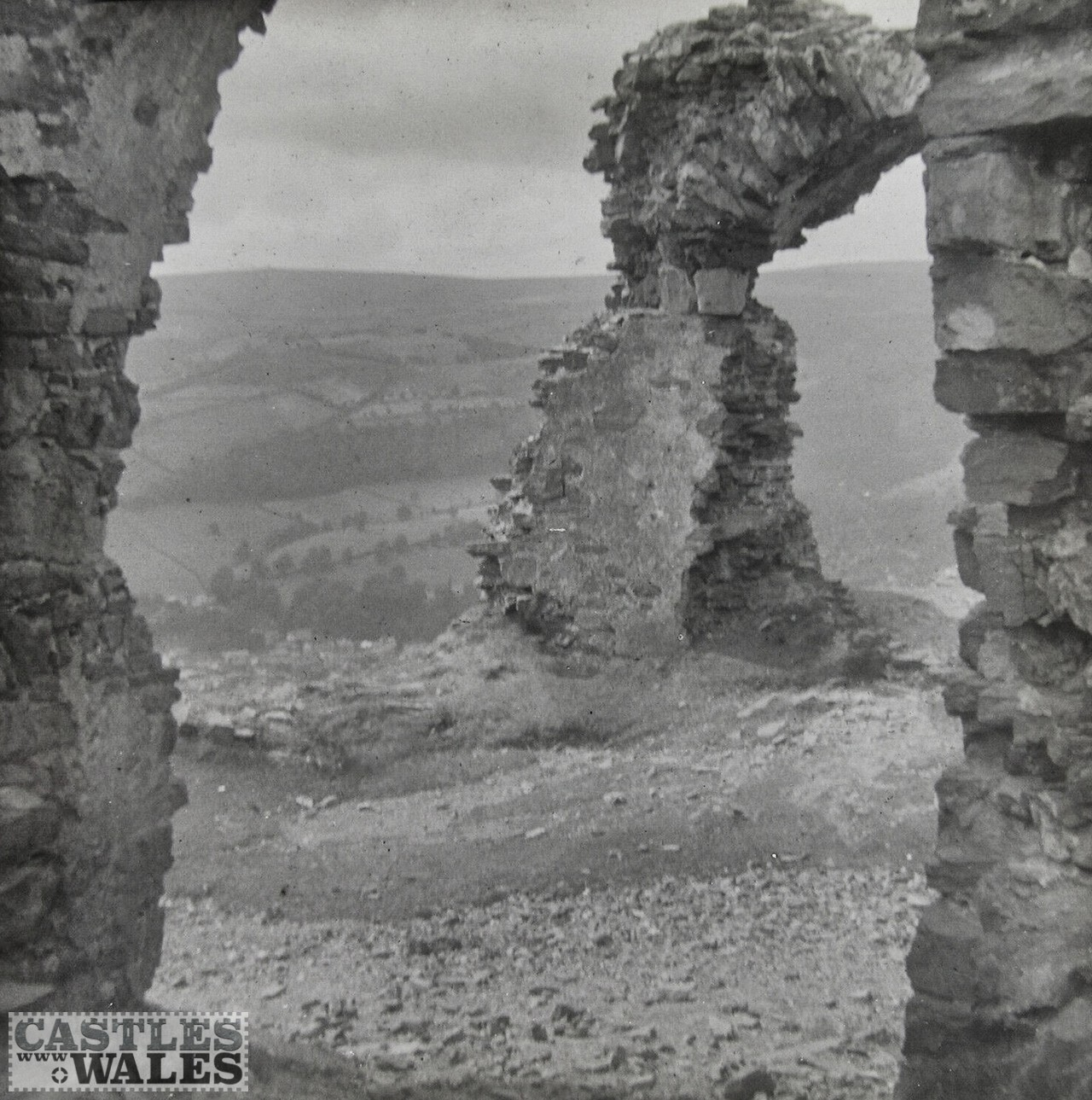 Dinas Bran Castle Magic Lantern Slide c.1900