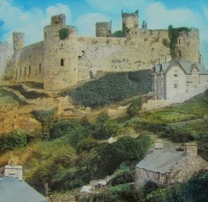 Harlech Castle and Houses Colour Magic Lantern Slide c.1890