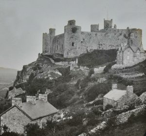 Harlech Castle and Houses Magic Lantern Slide c.1890