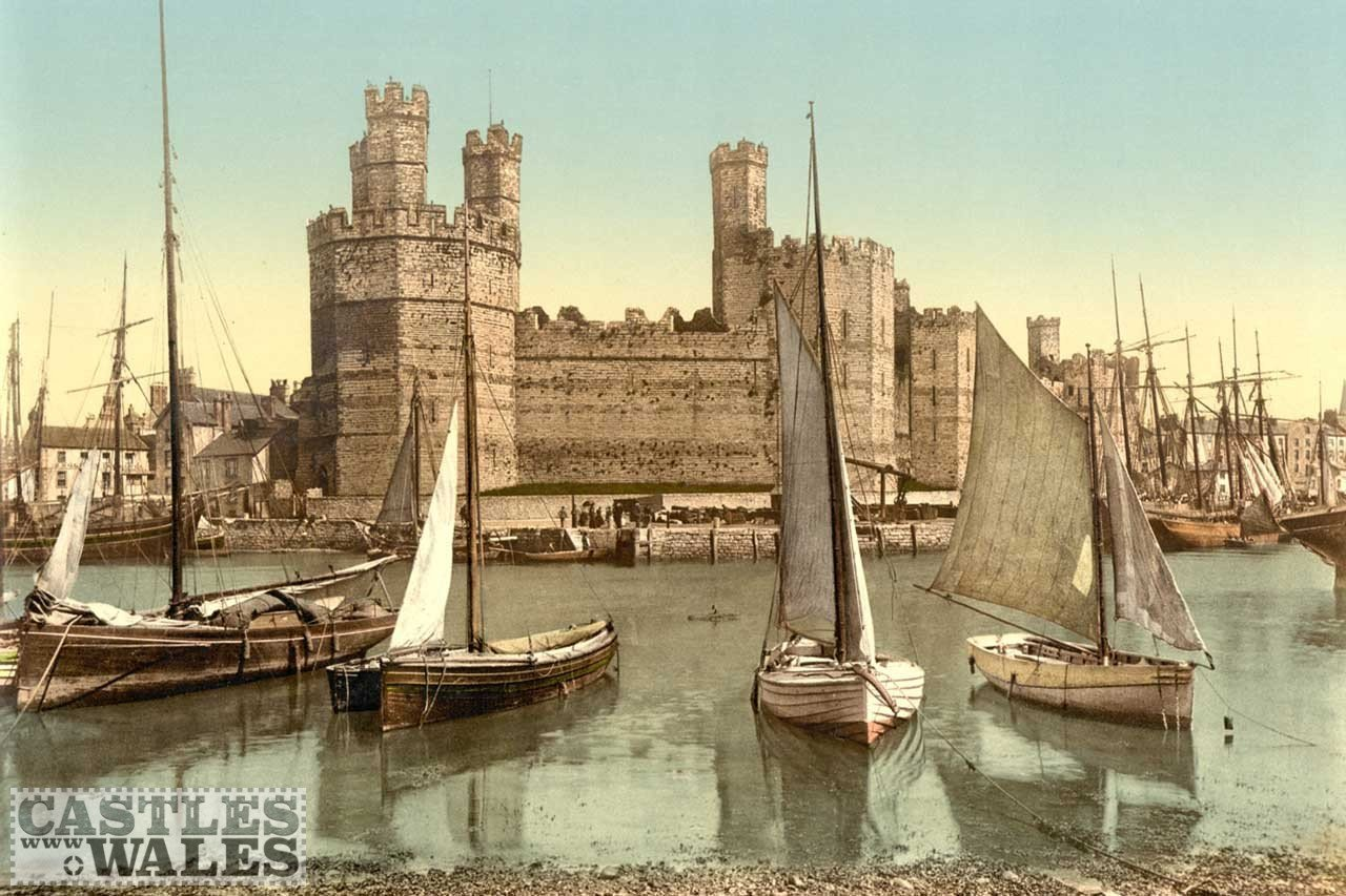A Victorian Photochrom of Caernarfon Castle