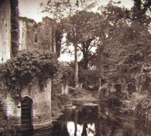 A Magic Lantern Slide of Raglan Castle and Moat c.1890